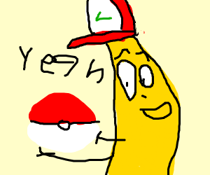 Ash as a banana with a pokeball