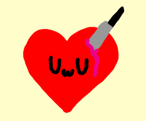 heart with knife in it makes uwu face