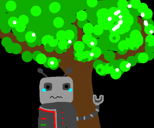 Scared robot hiding under tree.