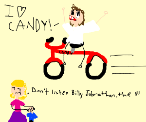 Man on bicycle loves candy