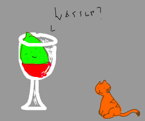 Lime in some wine says wassup to orange cat