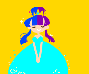 Princess with purple and blue hair