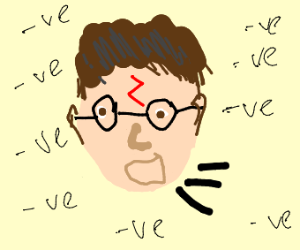 Screaming Harry Potter in negative