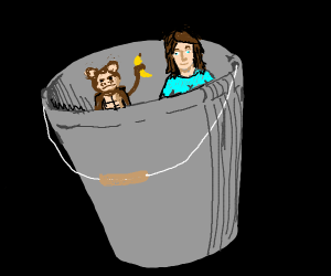 monkey and woman in a bucket
