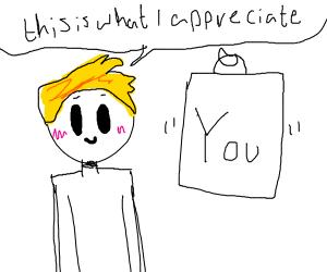 blonde guy appreciates something