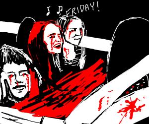 Rebecca Black's Friday car scene but gory