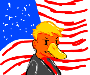 Trump, his duckface and the USA flag