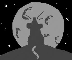 Mouse on house silhouetted against the moon