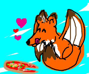 A dragon fox likes pizza