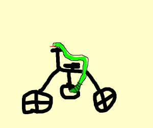 Snake riding a bicycle