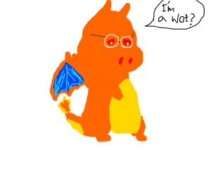 "Sad Charizard with glasses says ""I'm a wot?"""