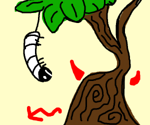 Worm looks at weird demented tree