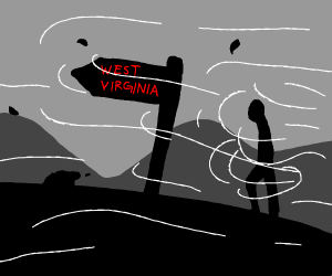 someone walking to west virginia in a storm