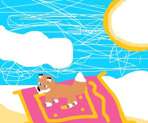Fox flying on Carpet