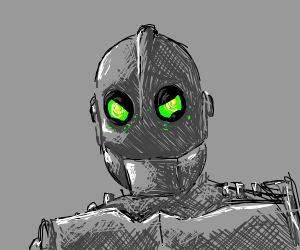 The Iron Giant looking down at you menacingly