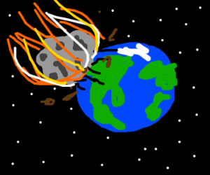 Giant meteor impacts earth