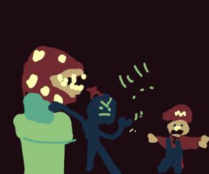 Man w/ plant in head rages at Mario Bros.
