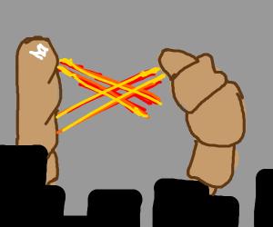 Baguette vs. Croissant fight with Laser Eyes