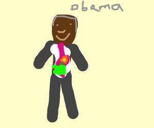 Obama is digesting a flower