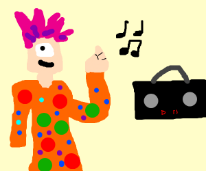 colorful sassy cyclops is jamming out