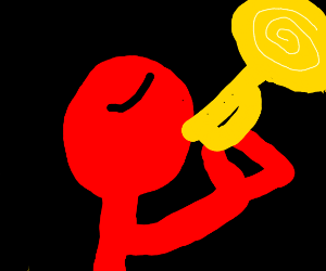 Red man plays the trumpet