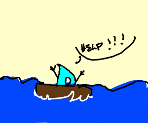 Drawception D is sinking on a boat