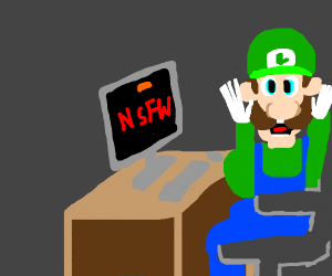 distressed Luigi sees adult content