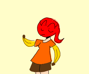 Red headed girl with bananas for arms