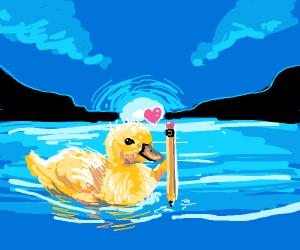 Pencil & duck friends
