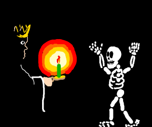 King sees a skeleton