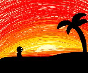 man on beach enjoying sunset