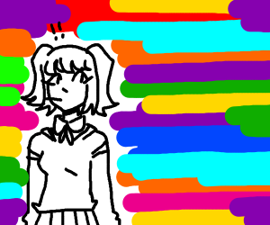 Anime girl getting swarmed by colors