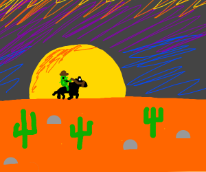 Cowboy Pickle Travels Through The Desert