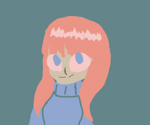 Alien w/ pink wig and blue sweater