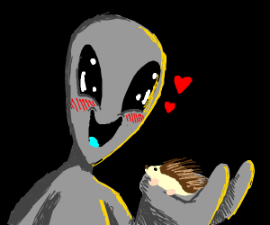 Alien in love with a hedgehog