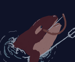 Whale with a bow and trident