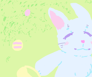 Easter Bunny leaving behind Easter eggs