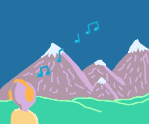 Person listening to music in the mountains
