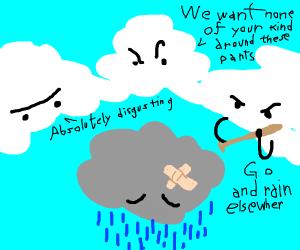 Clouds terrorise grey cloud, cloud racism