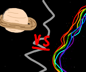 Ringed planet faces off space rainbow