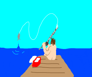 naked man fishes