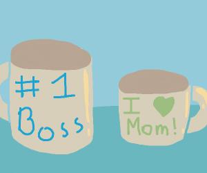 I love mom mug and #1 boss mug