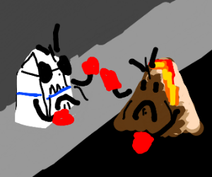 A milk carton and a volcano fighting