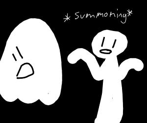 Man summoning ghost