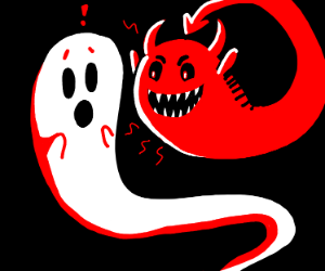 devil ghost scaring a real ghost