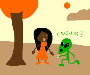 Alien proposes friendship