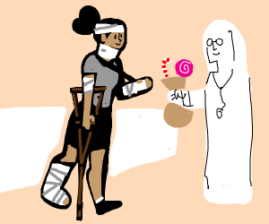 wounded girl gets candy