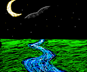 Bat flying over a river in the moonlight