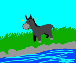 A Extremly happy donkey grazing by a river