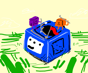 cubes playing golf on top of a game cube